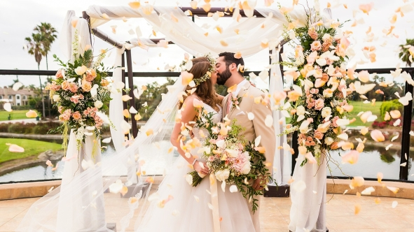 Peach and greenery wedding in Orange County