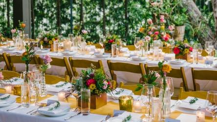 Bright and rustic restaurant wedding flowers in Pasadena, Los Angeles, California